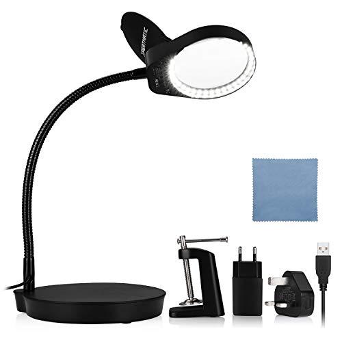 XpertMatic Lámpara Lupa LED con Pinza y base PD-4S, 2.25X Lámparas de escritorio con 38 LED luces regulables, 5 dioptrías, Lupas para lectura, pasatiempos y manualidades de tareas