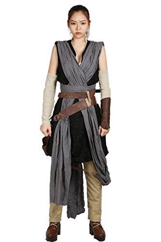 BIRDEU Rey Kostüm SW Film Cosplay Outfit Gürtel Tasche mit Zubehör für Damen Halloween Kleidung (M)