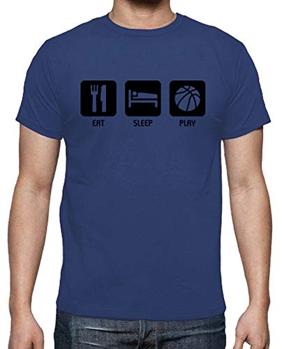 latostadora - Camiseta Eat, Sleep, Play para Hombre Azul Royal 3XL