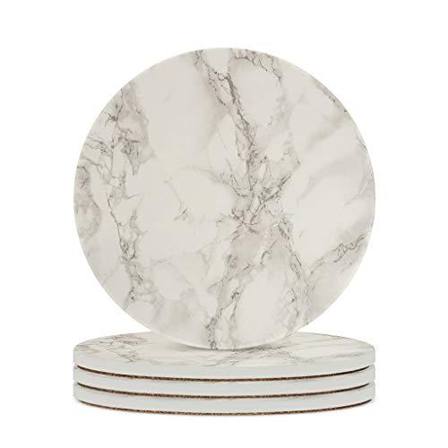 Fineiwillgo Posavasos de cerámica con textura de mármol, antideslizantes, redondos, de cerámica con base de corcho impreso, para bebidas, oficina, diámetro de 9,8 cm, color blanco, 4 unidades