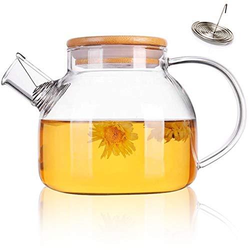1000 ml Glaskessel Teekanne Mit Filterauslauf Teekanne Glas Wasserkrug Saftkrüge Teekanne Krug Bambusdeckel Hitzebeständig für heiße/kalte Getränke Borosilikatkrug ohne Tropfen