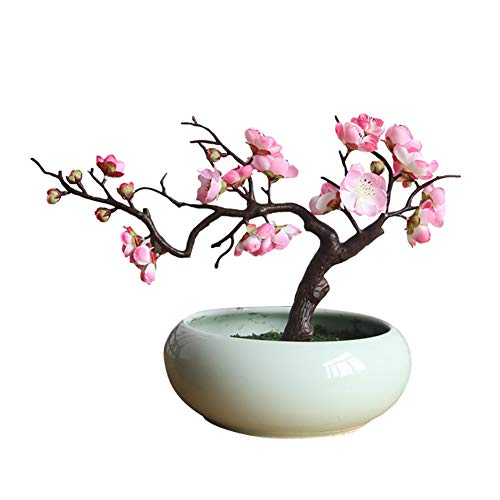 BaoST Artificial Plum Blossom Branches Floral Stems Photo Props Plum Blossom Fake Flower Arrangements Desktop Bonsai Pot Ornament for Wedding Home Office Shop(no Pot) Light Pink
