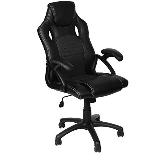 Panorama24 Gamer Stuhl Gaming Schreibtischstuhl Chefsessel Bürostuhl Ergonomisch, Schwarz, 9 Farbvarianten, gepolsterte Armlehnen, Wippmechanik, belastbar bis 150 kg, Lift TÜV geprüft