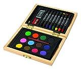 Disegni da colorare per bambini in scatola in legno composto da 8colori a cera Pennarelli, 12acqua e 1pennello, 1matita, 1Temperino, 1gomma da cancellare