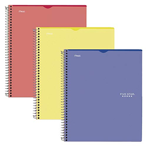 """Five Star Interactive Notetaking, 1 Subject, College Ruled Spiral Notebooks, 100 Sheets, 11"""" x 8-1/2"""", Customizable, 3 Pack (38589)"""