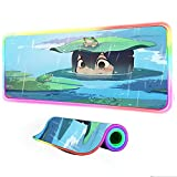 Gaming Mouse Pad Anime My Hero Academia Girl Kawaii Gamer RGB Large Computer Desk Led Backlight Keyboard Mat Gaming Accessories 24 inch x12 inch x0.15 inch