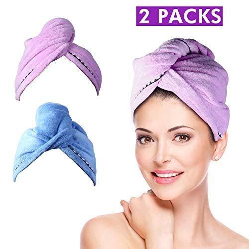 Toallas para Secar Pelo 3 pcs Pelo Secado Rápido Toallas para el Pelo Toalla Turbante Microfibra Suave Absorbentes de Agua Pelo Seco Sombreros con Botón para Ducha (Azul/Púrpura /Blanco)