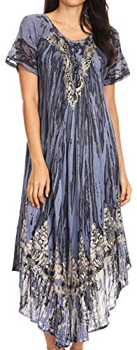 Sakkas 17260 - Devora Maxi Nightgown Caftano Caftano Abito da Donna Tie Dye Batik e Corsetto - Steel Blue-Blue - OS