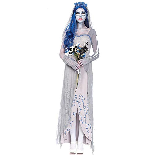 CAGYMJ Cosplay Collezione Estiva da Donna,Zombies Scheletro Sposa Fantasma Vestito Grigio Lunga Abito,Pasqua Halloween Costumi Carnevale Festa per Adulti Gonna