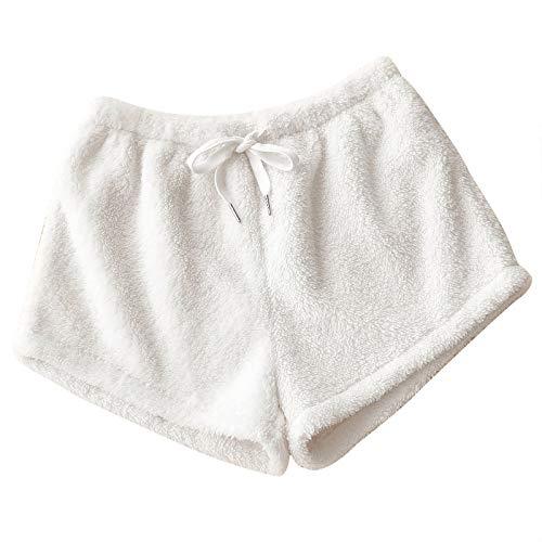 Women's Kawaii Anime Plush Pajamas Shorts Sweet Lolita Safety Pants Comfortable Pj Bottoms Homewear Loungewear White