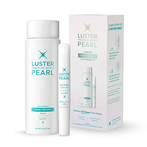 Luster Premium White 2-Minute Pearl Infused Teeth Whitening Kit, Fast Teeth Whitener, Pearl Infused Whitening Rinse & Whitening Serum (2-Piece kit), Mint