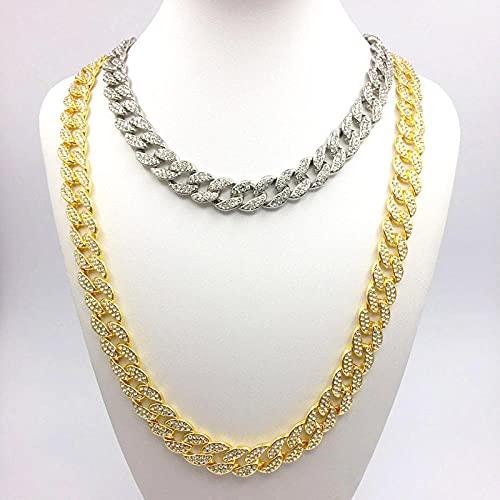 Sobneqce Hip Hop Helado Collares Rhinestone Rapper Jewelry Cadena DE Miami Cubana, Collar Cadena de Diamantes Regalo (Color : Silver Color45cm)