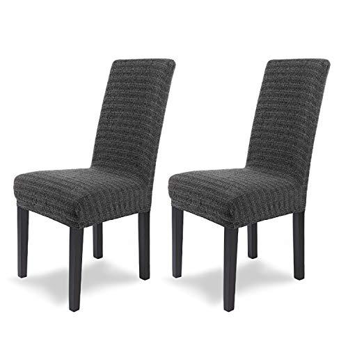 SCHEFFLER-Home Stretch Stuhlhusse Anna | 2er Set elastische Stuhlabdeckungen in feinem Raff-Look | Stuhlhussen Schwingstühle | Spannbezug mit Gummiband | Elegante Stuhlbezüge