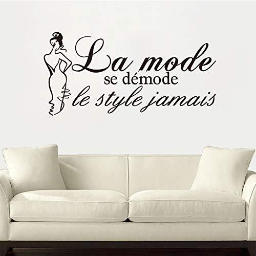 Französische Zitate Se demode le style jamais Vinyl Wandaufkleber Abziehbilder Kunst Tapete für Wohnzimmer Home Decor House Deco 61x126cm