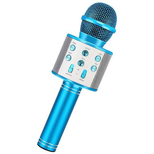 RXYYOS Microfono Karaoke Wireless Microfoni Bluetooth Bambini Karaoke Player Multifunzione Microfono con Altoparlante per Cantare per Adulti e Bambini KTV Party in Casa o all'Aperto (Blu)
