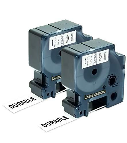 Label Orison Compatible with DYMO D1 Label Tape 19mm 45803 S0720830 Black on White 3/4 Inch (19mm) x 23 Feet (7m) Labeling Cassette for Dymo LabelManager 360D 420P 450D 500TS Label Maker,2 Cartridges