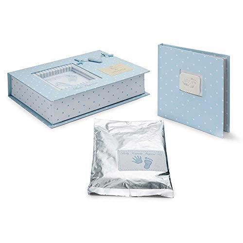 Set Huellas Bebé 3d Corazón en Azul de BebeDeParis- Masilla especial para huellas de bebé, album para 20 fotografías 20X15cm y caja personalizable