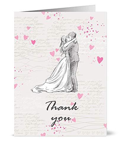 """Dankeskarten im Vintage-Stil für Hochzeit, Motiv: Braut und Bräutigam mit der Aufschrift """"Thank you"""", mit Umschlägen, 50 Stück"""