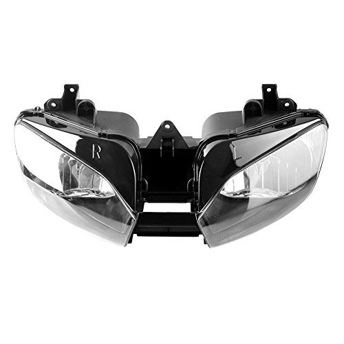 Mallofusa Motorcycle Front Headlight Headlamp Assembly Compatible for Yamaha YZF R6 1998 1999 2000 2001 2002 Clear Lens