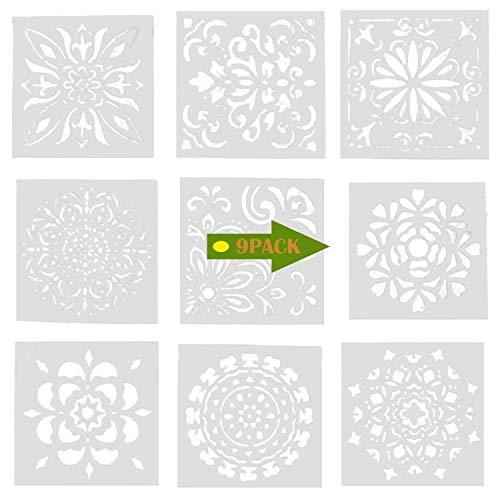 9 PCS Plantilla de Dibujo 15x15cm Lavable Plástico Reutilizable Dibujo Plantilla para niños Estudiantes Adultos Bricolaje Artesanía álbum Dibujo Portable del Graffiti