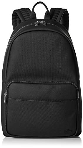 Lacoste Men's Solid Large Zip Backpack, Black, One Size