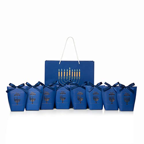 Nightly Hanukkah Gift Bag Set For You to Fill - One for each night, Chanukah Supplies, Blue Color Bag, Party Favor Bag, Gelt, Dreidel, Candy Kraft Paper Treat bags, Goodie Bags with Ribbons, Large Bag Included.