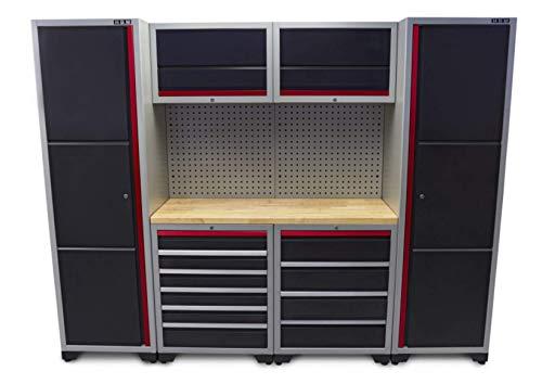 Profi Werkstatteinrichtung Set mit Schubladen 263 x 51 x 204 cm, Werkbank, Werkzeugschrank von HBM...