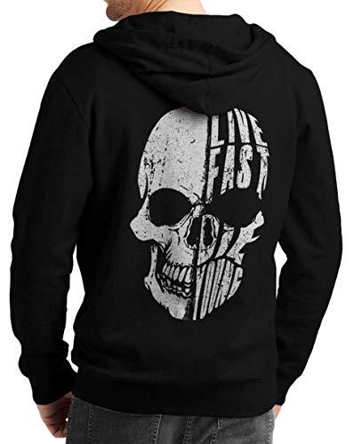 Rebel on Wheels Herren Zip Hoodie Sweat-Jacke mit Kapuze Kapuzen-Jacke Winter mit Motiv Bedruckt Totenkopf Skull Biker Motorrad Live Fast Skull Schwarz 2XL