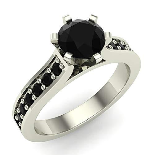 Juego de 6 puntas Anillo de compromiso de diamantes negros Vástago acentuado 3/4 quilates Peso total Oro blanco de 14 k (Tamaño del anillo 8.5)
