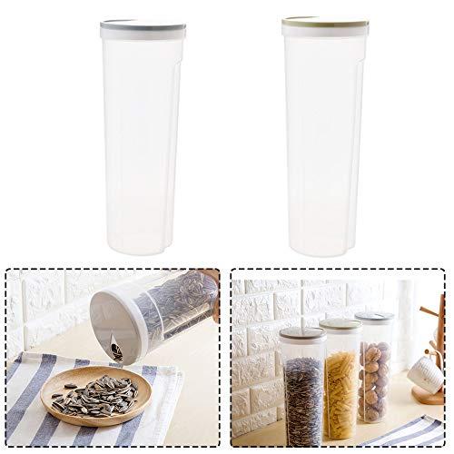 2 Piezas Recipiente Plástico para Alimentos, Recipientes Almacenamiento Cereales, Plástico PP Cilindro Recipiente Pasta Espagueti para Almacenamiento Granos, Avena, Nueces, Frijoles (2 Colores)