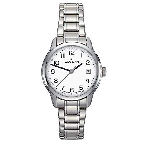 DUGENA Damen-Armbanduhr 4460716 Vega, Quarz, weißes Zifferblatt, Edelstahlgehäuse, Saphirglas, Edelstahlarmband, Drückerfaltschließe, 5 bar