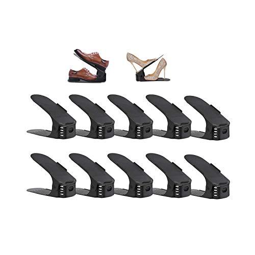 wolketon 10 Stück Einstellbare Schuhregale, Schuhstapler/Schuhhalter Set, Space Saver Schuh Slots Für Herren Damen