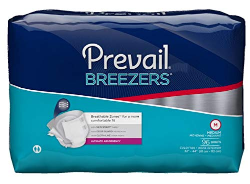 Prevail Breezers Incontinence Briefs, Ultimate Absorbency, Medium, 96 Count