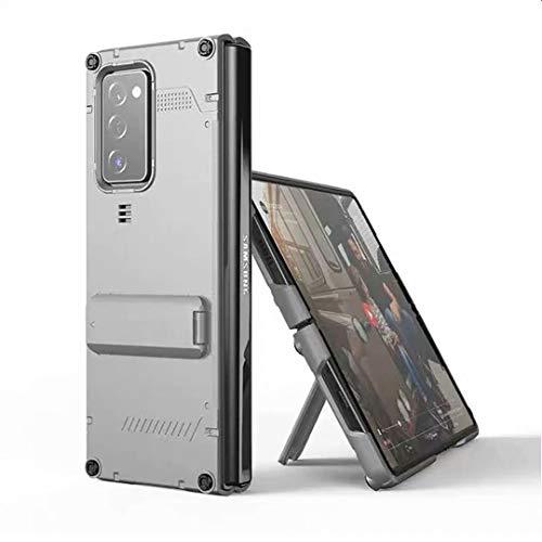 XJZ Kompatibel mit Samsung Galaxy Z Fold 2-5G Smartphone Hülle(Silber)+3D Panzerglas/Handyhülle 360 Grad Vollschutz Hülle Ultra Dünne Bumper Stoßfeste TPU Rahmen Schutzhülle mit Ständer-2020