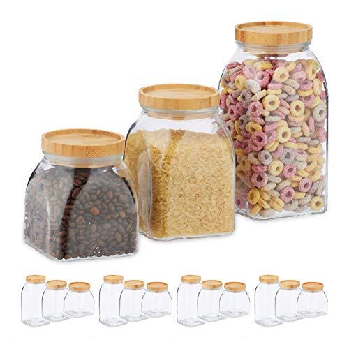 Relaxdays 15 x Vorratsglas, Größen 600, 1000, 1400 ml, Aufbewahrungsglas für Müsli, Pasta, Linsen, Bambusdeckel, transparent/Natur