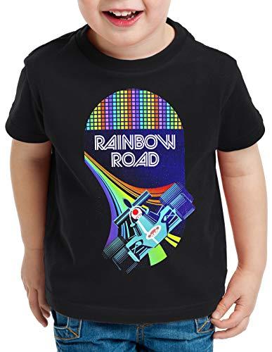 A.N.T. Rainbow Road Camiseta para Niños T-Shirt Double Dash Kart Tour GP Mario, Color:Negro, Talla:152