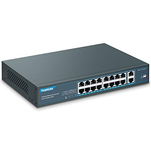 YuanLey 18 Port Poe Switch, 16 Poe+ Port 100Mbps, 2 Uplink Gigabit, 250W Potenza Integrata, 802.3af/at, Plug And Play Non Gestito Montato su Rack