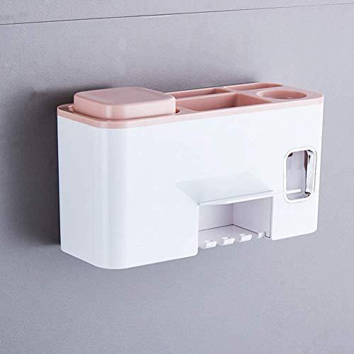 SMOOTHLY Soporte de Cepillo de Dientes Multifuncional con máquina expendedora de Pasta Dental autoadhesiva (2 Piezas)