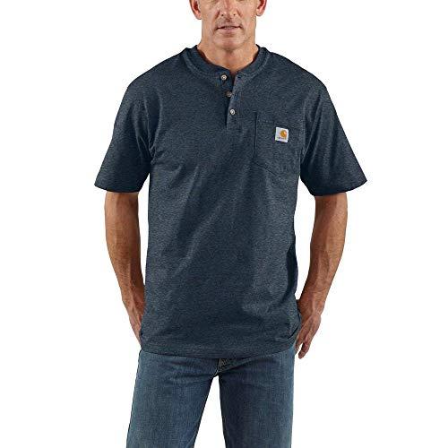 Carhartt Mens Workwear Pocket Short Sleeve Henley Midweight Jersey Original Fit, Dark Cobalt Blue Heather, Large