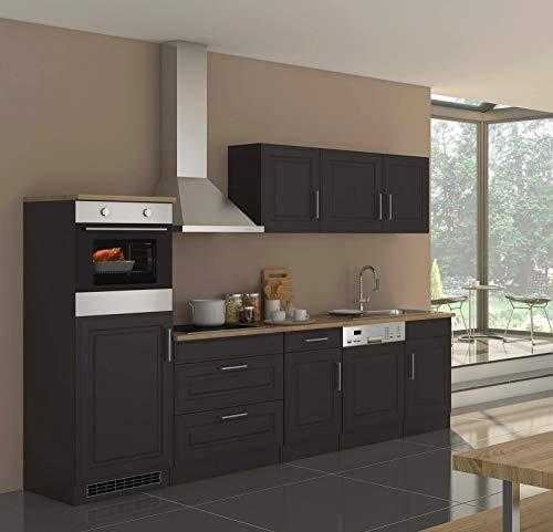 lifestyle4living Küche mit Elektrogeräten 300cm | Landhausküche Küchenzeile Küchenblock Einbauküche E-Geräte | Grau/Graphit