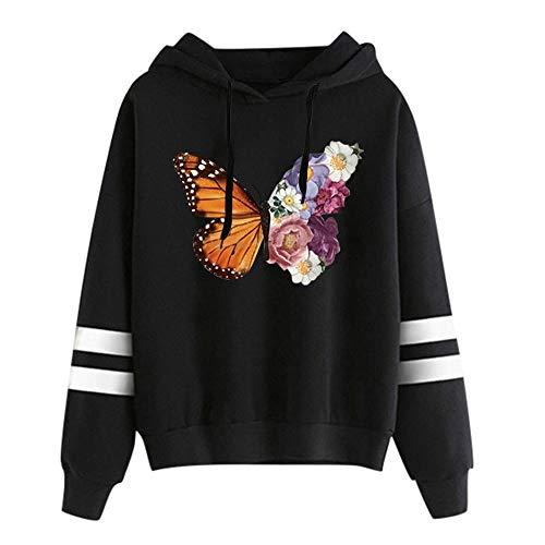 YIKEYO Sudaderas Adolescentes Chicas Tumblr Casual Ropa Mujer Juvenil Invierno 2020 Otoño - Sudadera con Capucha, Estampado de Mariposa y Flores