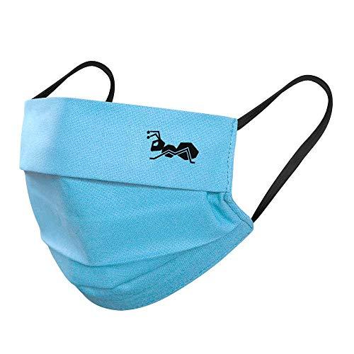 strongAnt Mund Nasenmaske. Mundbedeckung 100% Baumwolle 3 Lagen inkl Filter. Wiederverwendbar waschbar - Made in EU 5er Pack, Blau-Türkis