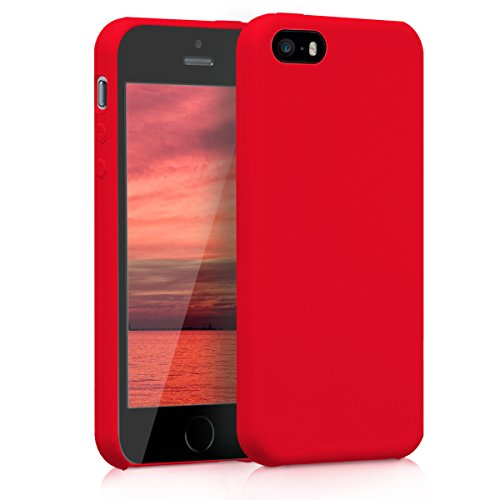 kwmobile Funda Compatible con Apple iPhone SE (1.Gen 2016) / 5 / 5S - Funda Carcasa de TPU para móvil - Cover Trasero en Rojo Mate