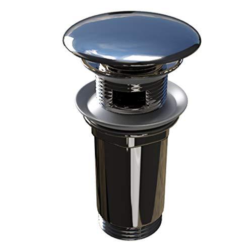 Ablaufventil Stöpsel Geruchsverschluss mit Click Clack und Push to Open Funktion aus Messing verchromt für Waschbecken mit Überlauf AVM01