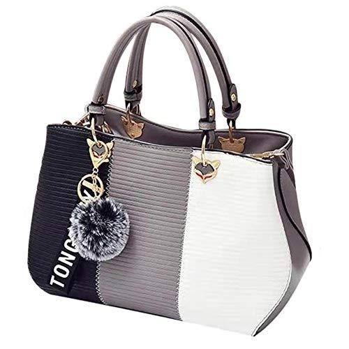Handbags for Women Fashion Ladies Purses PU Leather Satchel Shoulder Tote Bags (gray)