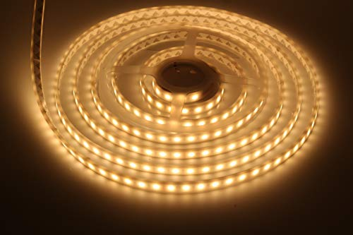 LEDMY UL Listed DC24V IP68 Waterproof Flexible LED Strip Light SMD5050,String Light, 300LEDs Warm white 3000K, Adhesive Led Tape Light for Fountain, Outdoor, Aquarium, Swimming Pool Using 5M/16.4F