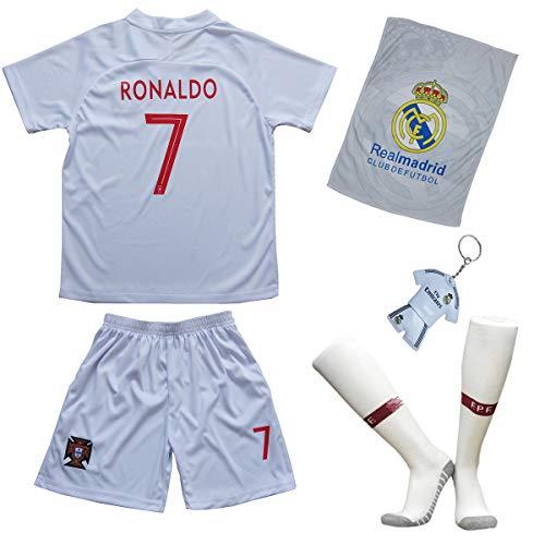 Portugal Ronaldo Trikot Set #7 Auswärts 2018/19 Kinder Fussball Trikot Mit Shorts und Socken Kinder (5-6 Jahre)