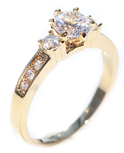 Ladies Promise Ring. Genuine Gold Filled UK Guarantee 3µ / 10 years. Simulated Centre Stone With Medium Stone Each Side, Followed By Smaller Brilliant Rounds. Makes The Perfect Engagement Ring.