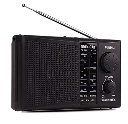 iBELL FM180U Portable FM Radio with USBSDMP3 Player & Dynamic Speaker 4 Band,Black