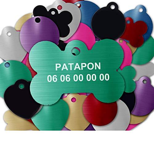 GRAVURE CONCEPT Médaille pour Chien Et Chat À Personnaliser – Médaillon Gravé 31 mm - 1 à 2 Lignes – 8 Couleurs Disponibles (Vert, Os)